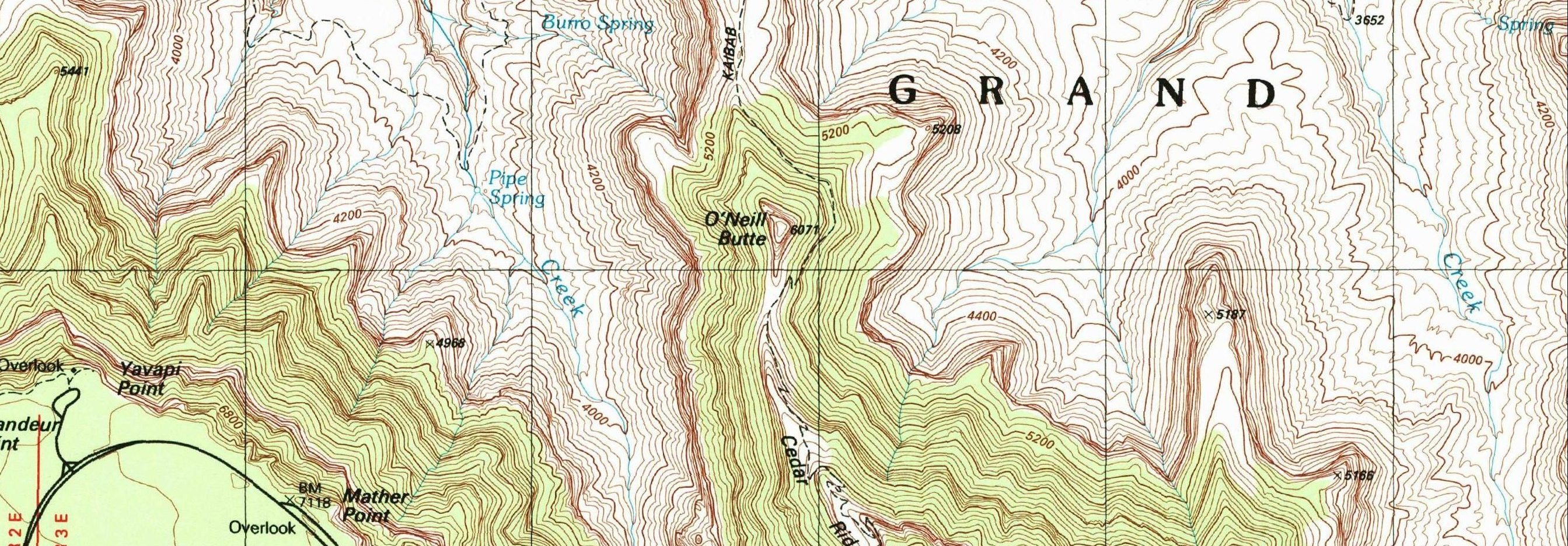 A section of a USGS topographic quadrangle map from the Grand Canyon