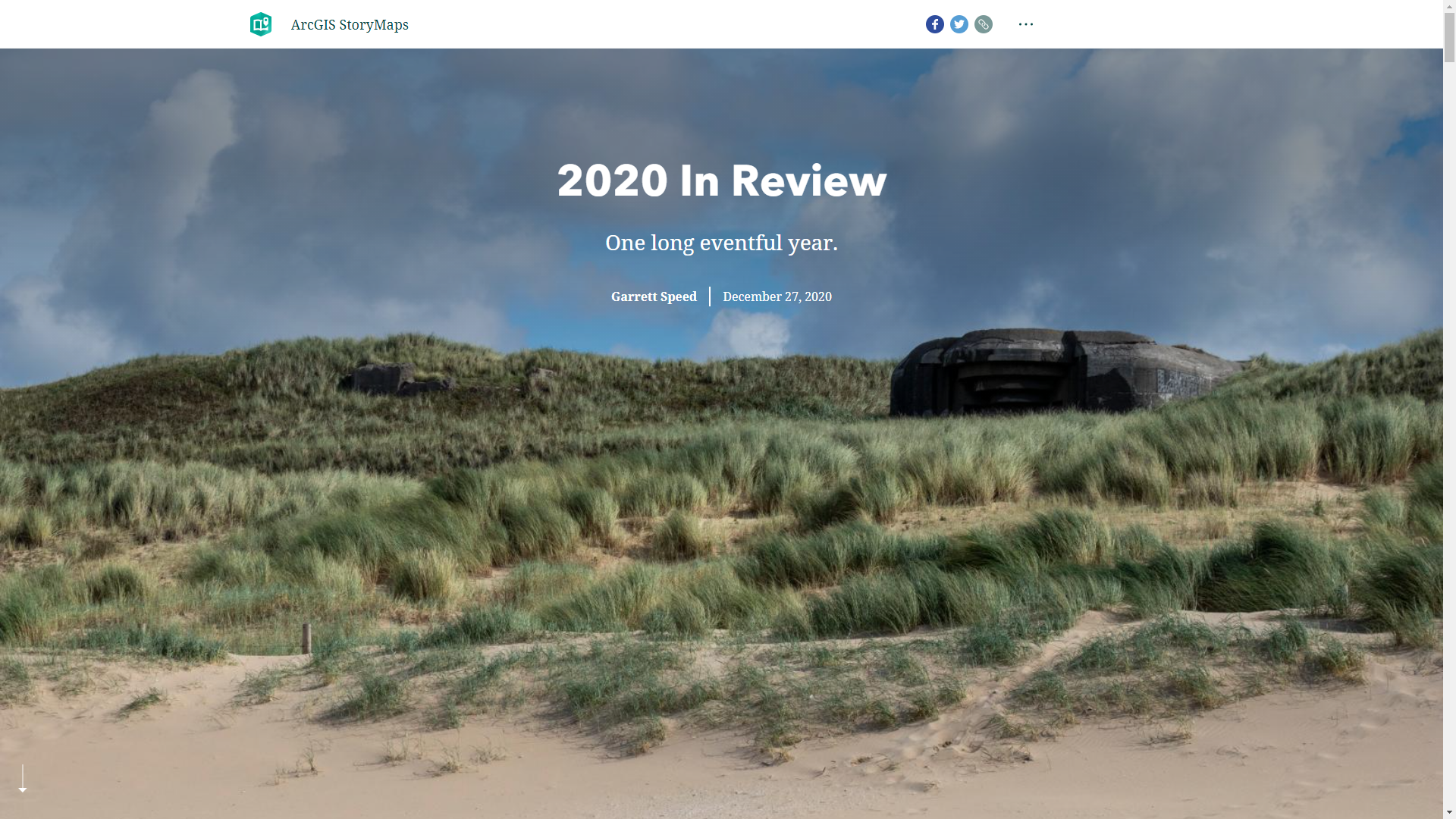 A screenshot of the linked page. In the screenshot is an image of a World War II bunker in Schevingen, Zuid-Holland, the Netherlands, as well as text, the title text saying 2020 In Review, and a subtitle of One long eventful year.